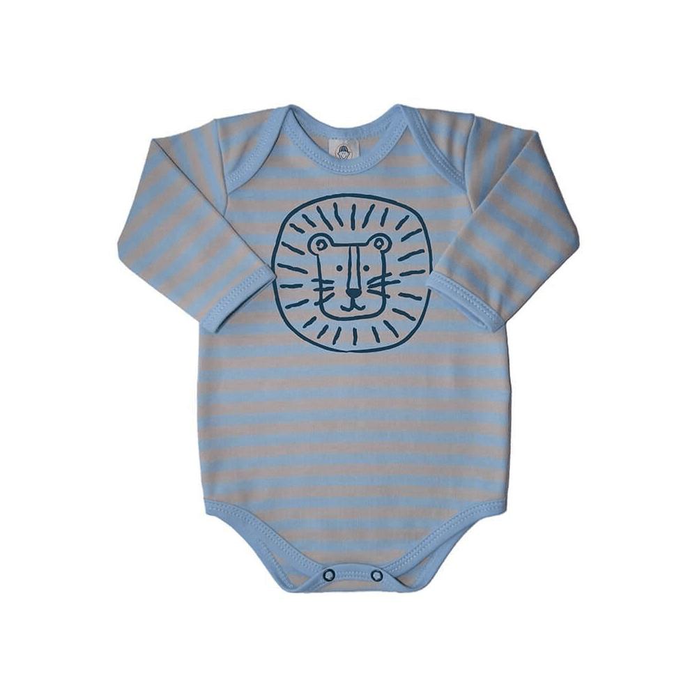 Body Bebê Manga Longa Listrado Leão Azul  - Piu Blu