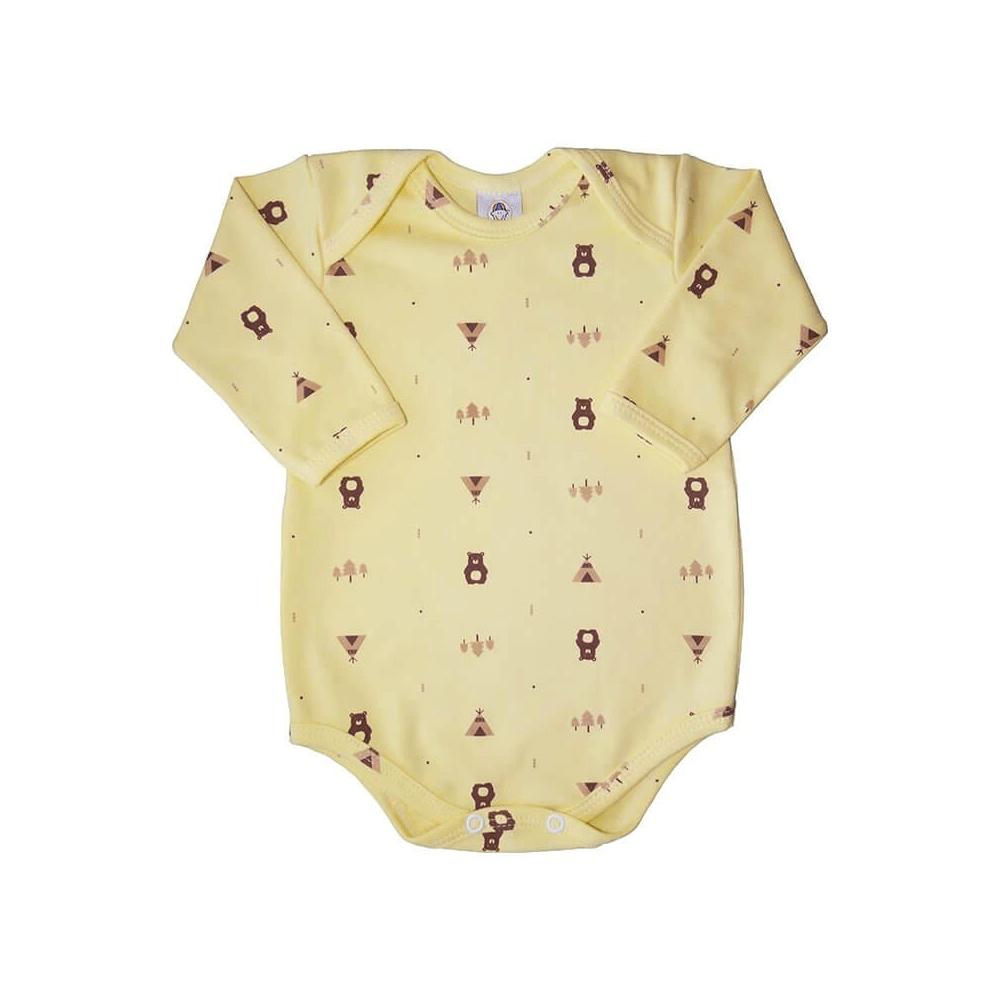 Body Bebê Manga Longa Ursinho Amarelo  - Piu Blu