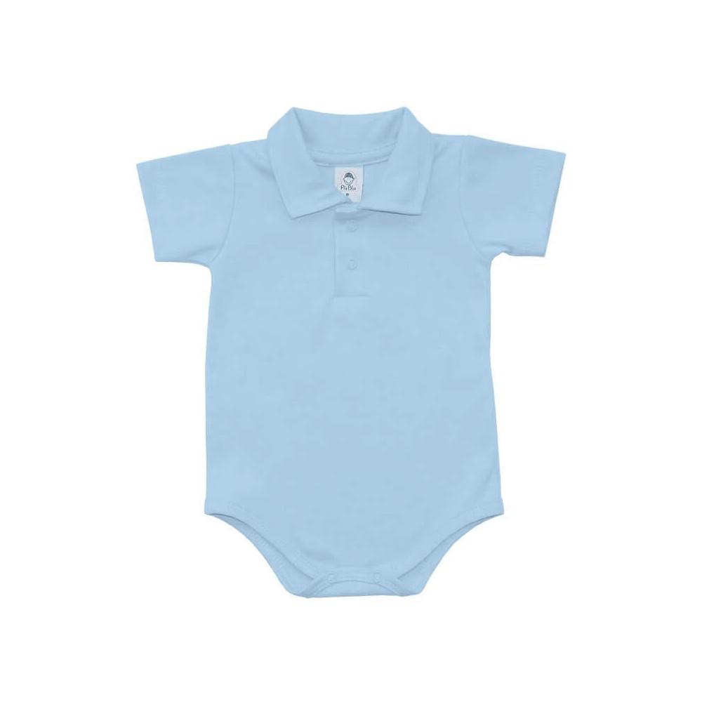 Body Bebê Polo Manga Curta Azul