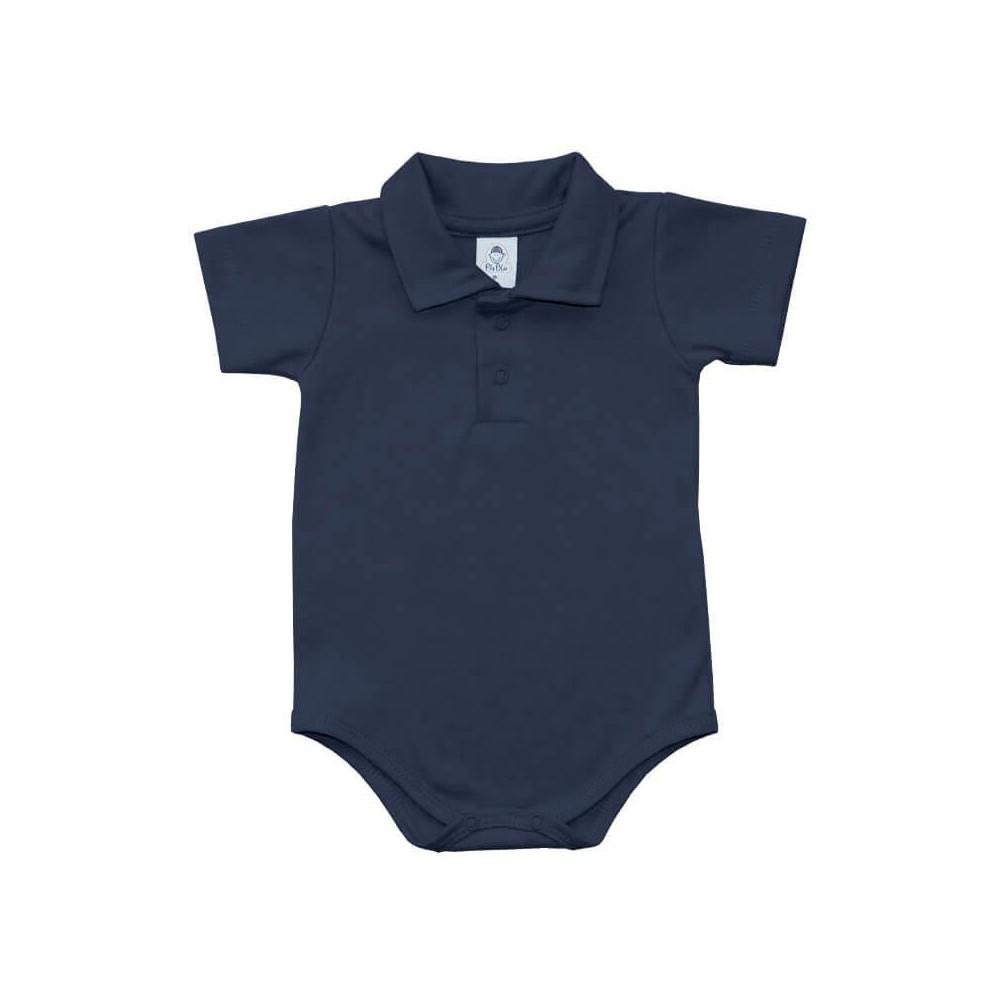 Body Bebê Polo Manga Curta Azul Marinho