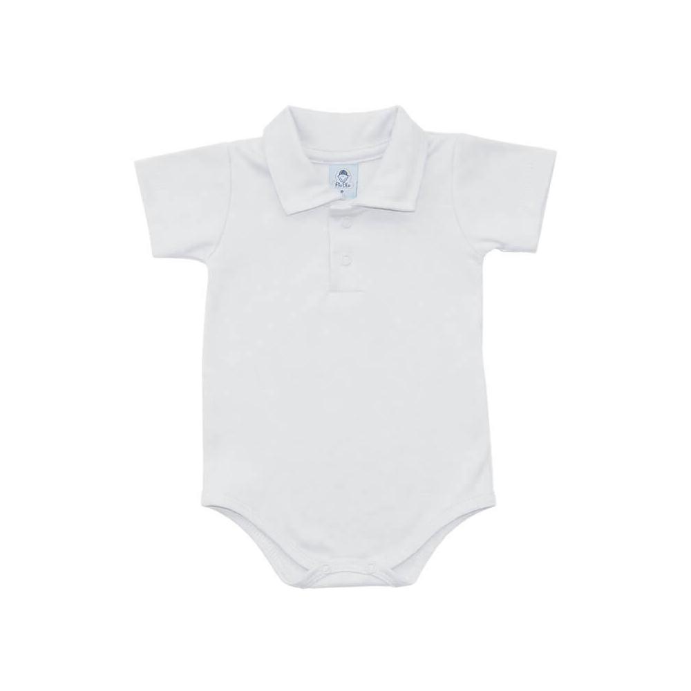 Body Bebê Polo Manga Curta Branco