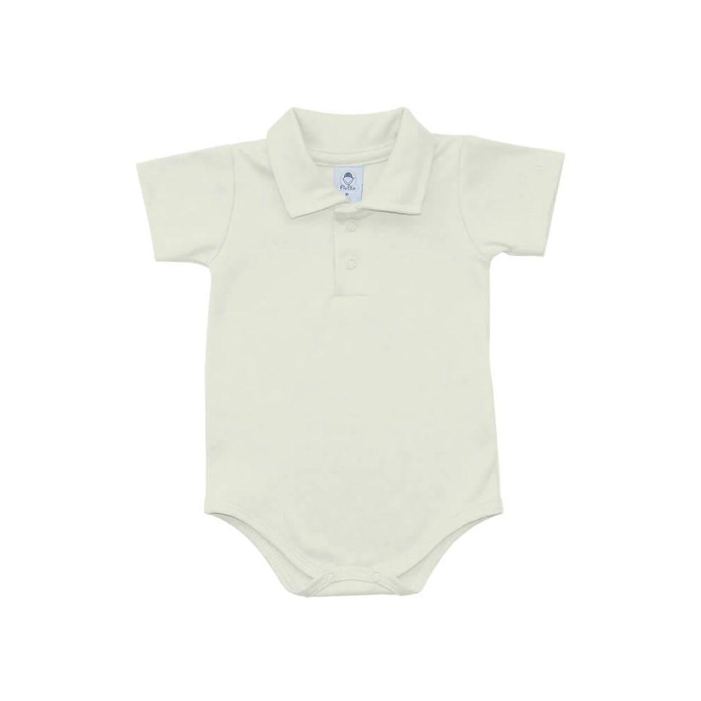 Body Bebê Polo Manga Curta Off-White  - Piu Blu