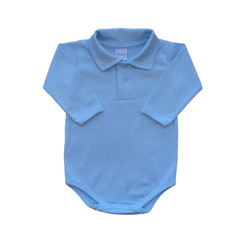Body Bebê Polo Manga Longa Azul Bebê