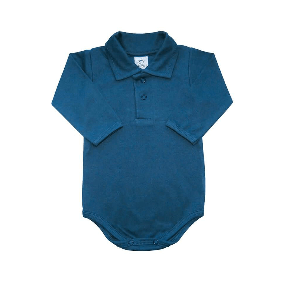Body Bebê Polo Manga Longa Azul Denim