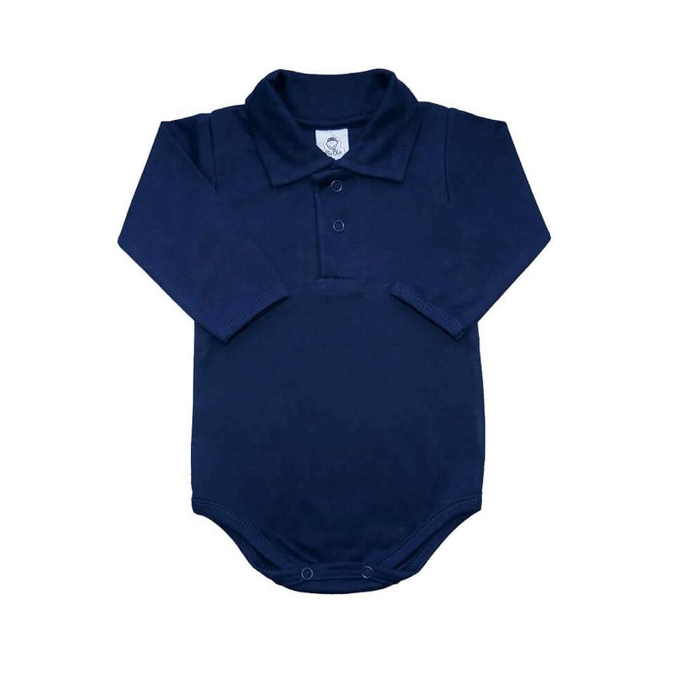 Body Bebê Polo Manga Longa Azul Marinho