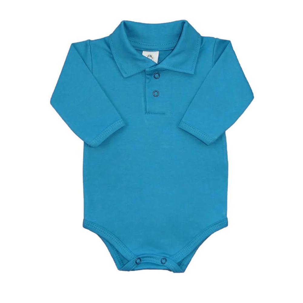 Body Bebê Polo Manga Longa Azul Petróleo  - Piu Blu