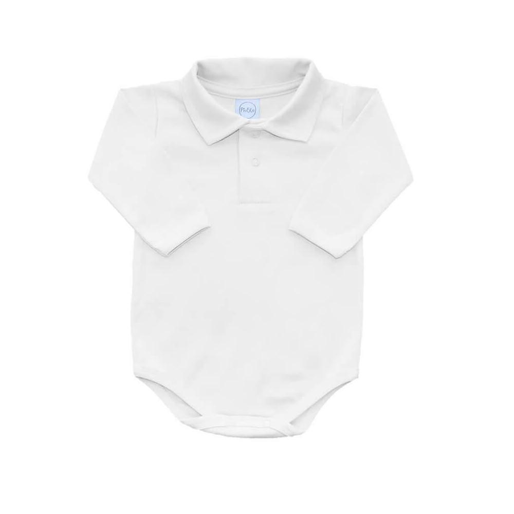 Body Bebê Polo Manga Longa Branco