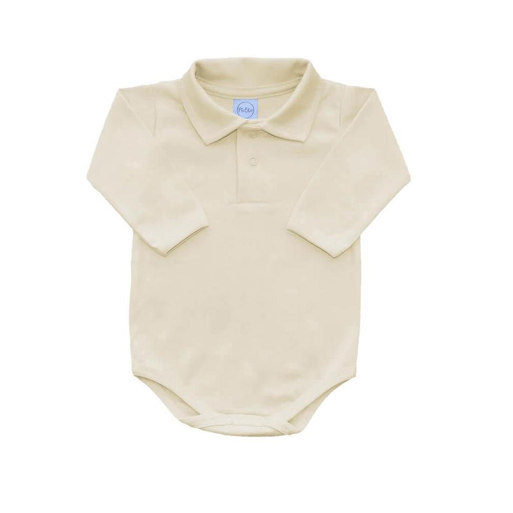 Body Bebê Polo Manga Longa Off-White