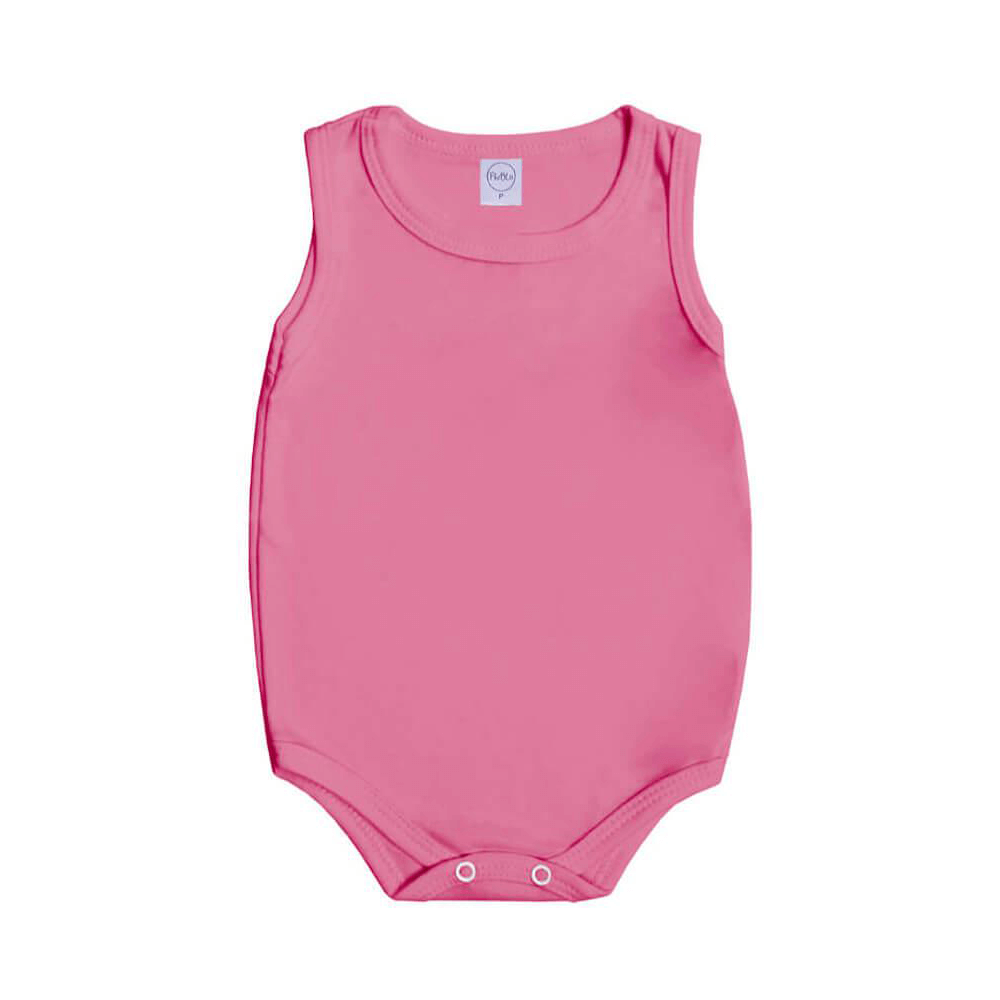 Body Bebê Regata Básico Rosa Chiclete  - Piu Blu