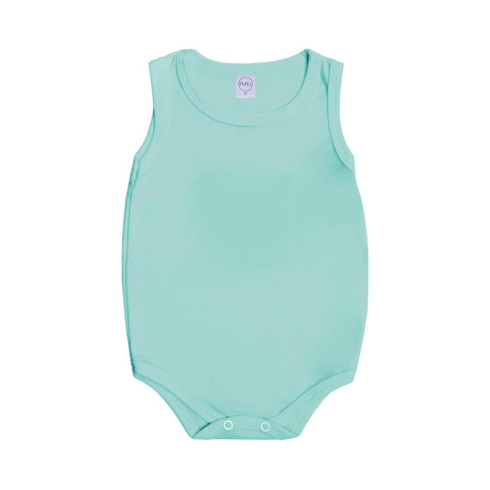 Body Bebê Regata Básico Verde Primavera  - Piu Blu