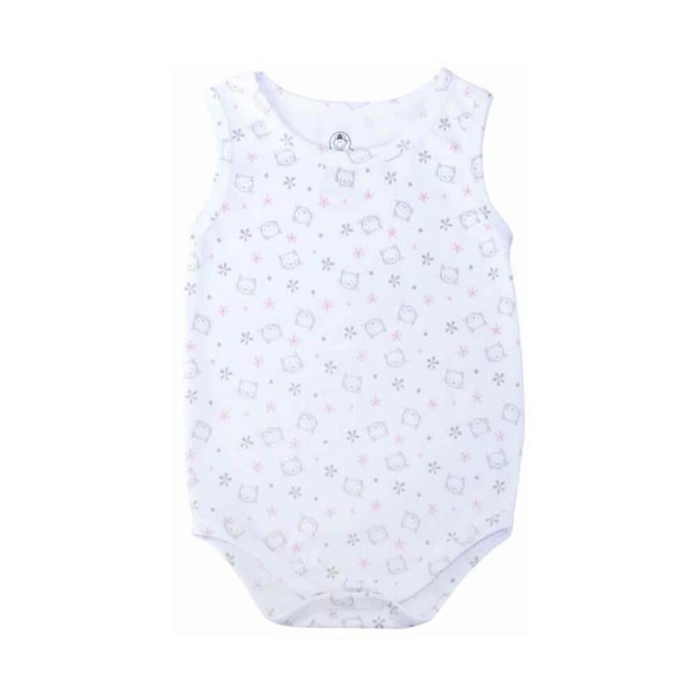 Body Bebê Regata Gatinha Branco  - Piu Blu