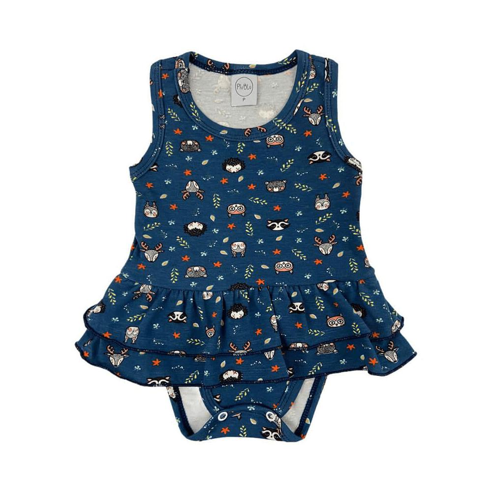 Body Bebê Saia Bichinhos Marinho  - Piu Blu