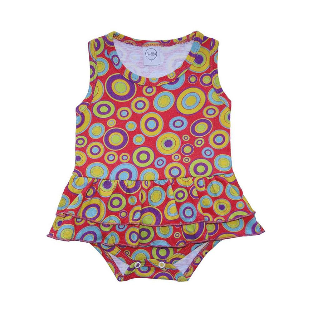 Body Bebê Saia Círculos  - Piu Blu