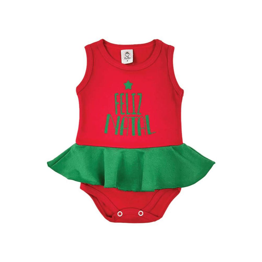 Body Bebê Frase Saia Feliz Natal Saia Verde