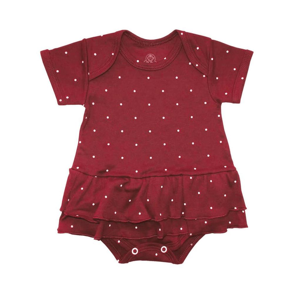 Body Bebê Saia Poá Vinho  - Piu Blu