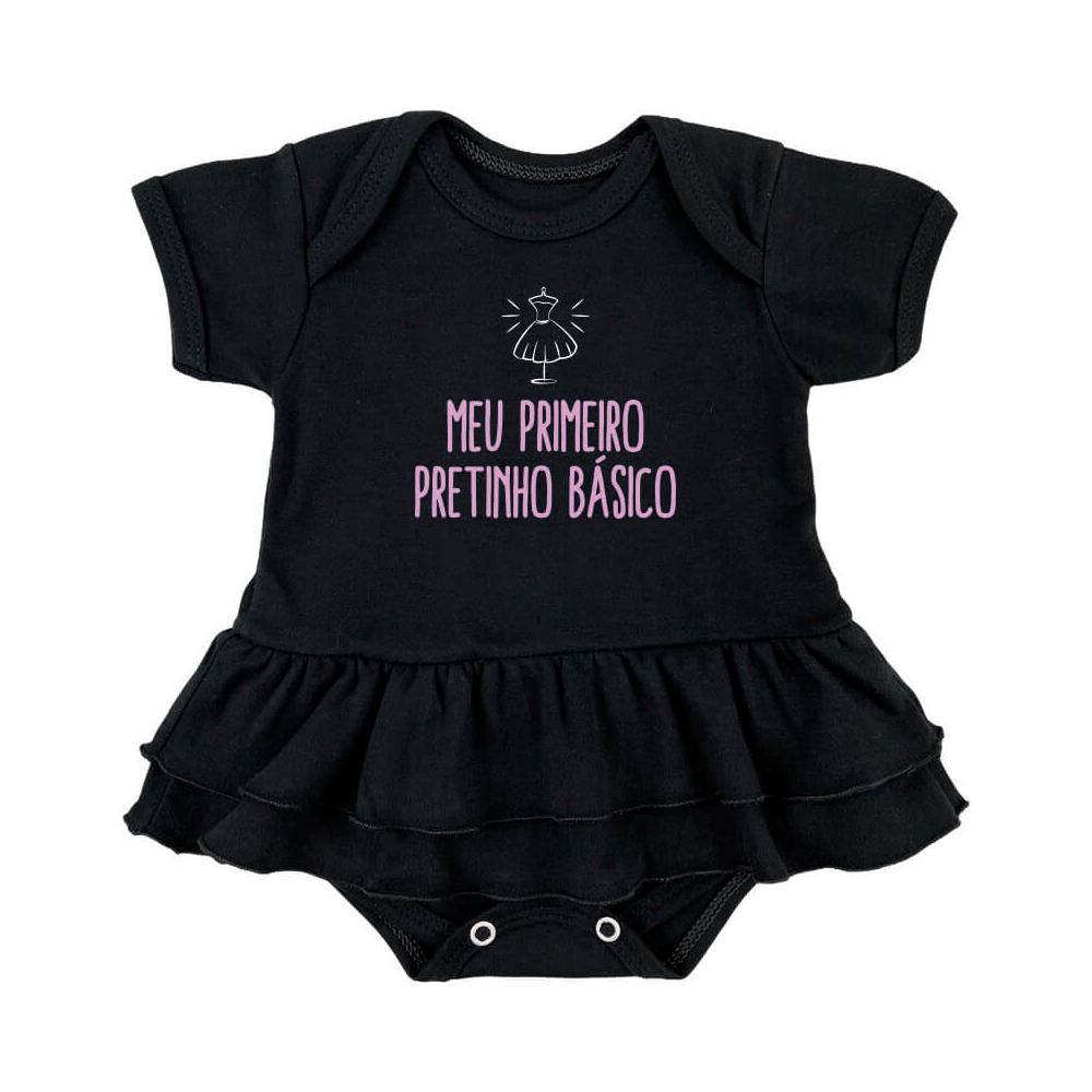 Body Bebê Frase Saia Pretinho Básico
