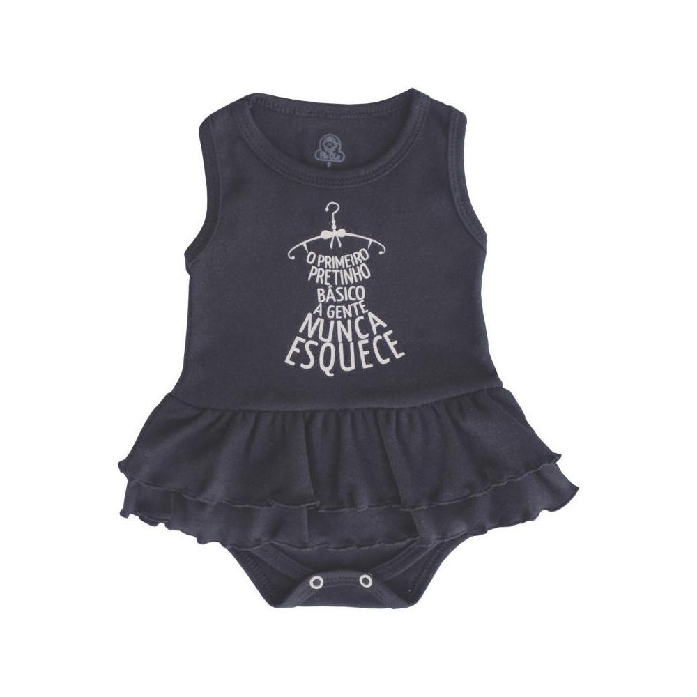 Body Bebê Saia Regata Pretinho Básico  - Piu Blu