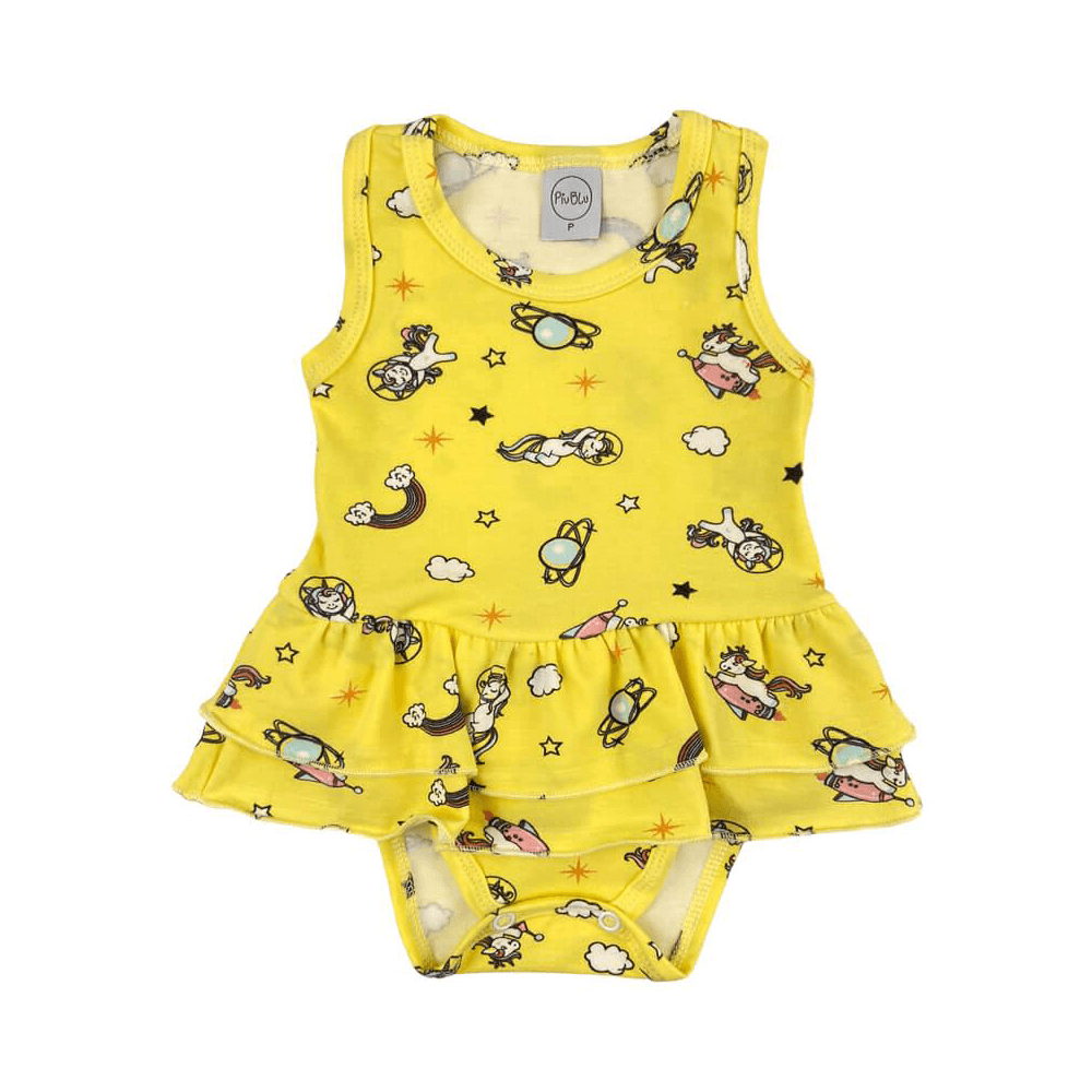 Body Bebê Saia Unicórnio Amarelo  - Piu Blu