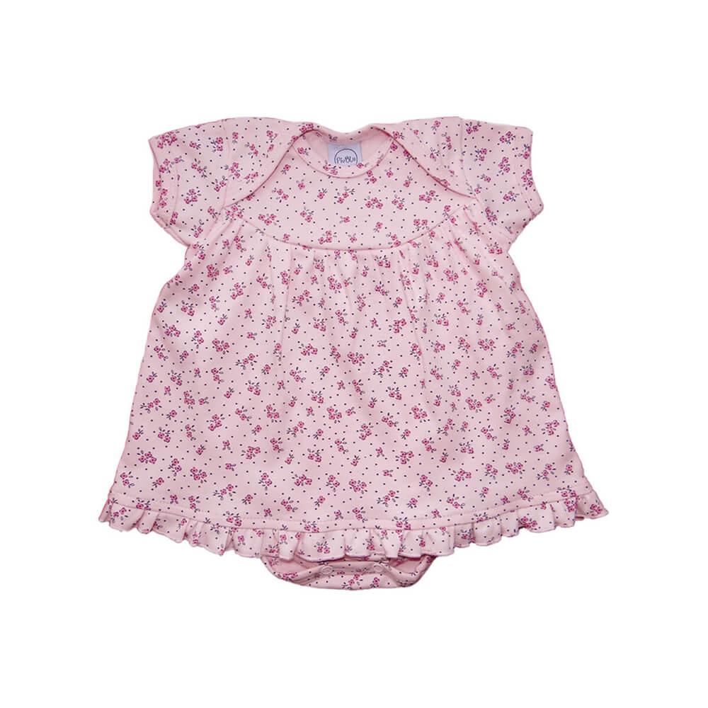 Body Bebê Vestido Floral Rosa