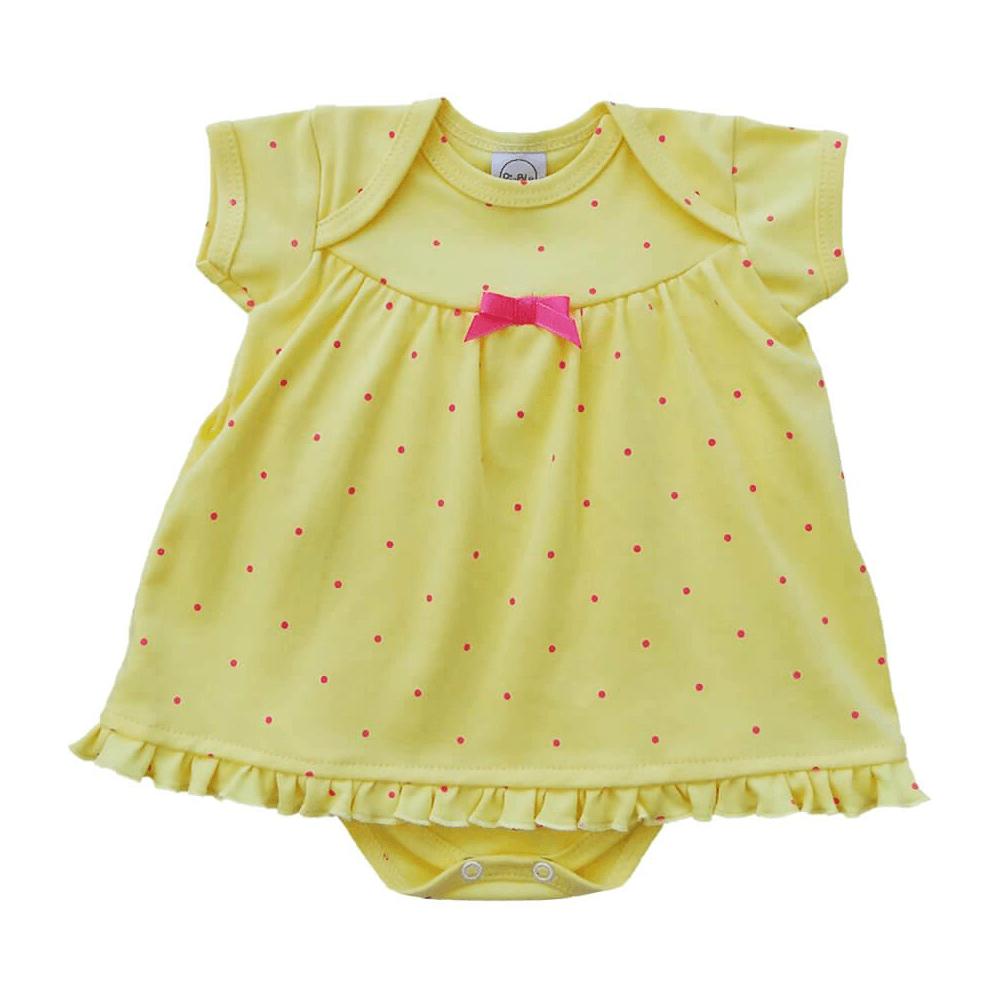 Body Bebê Vestido Poá Amarelo