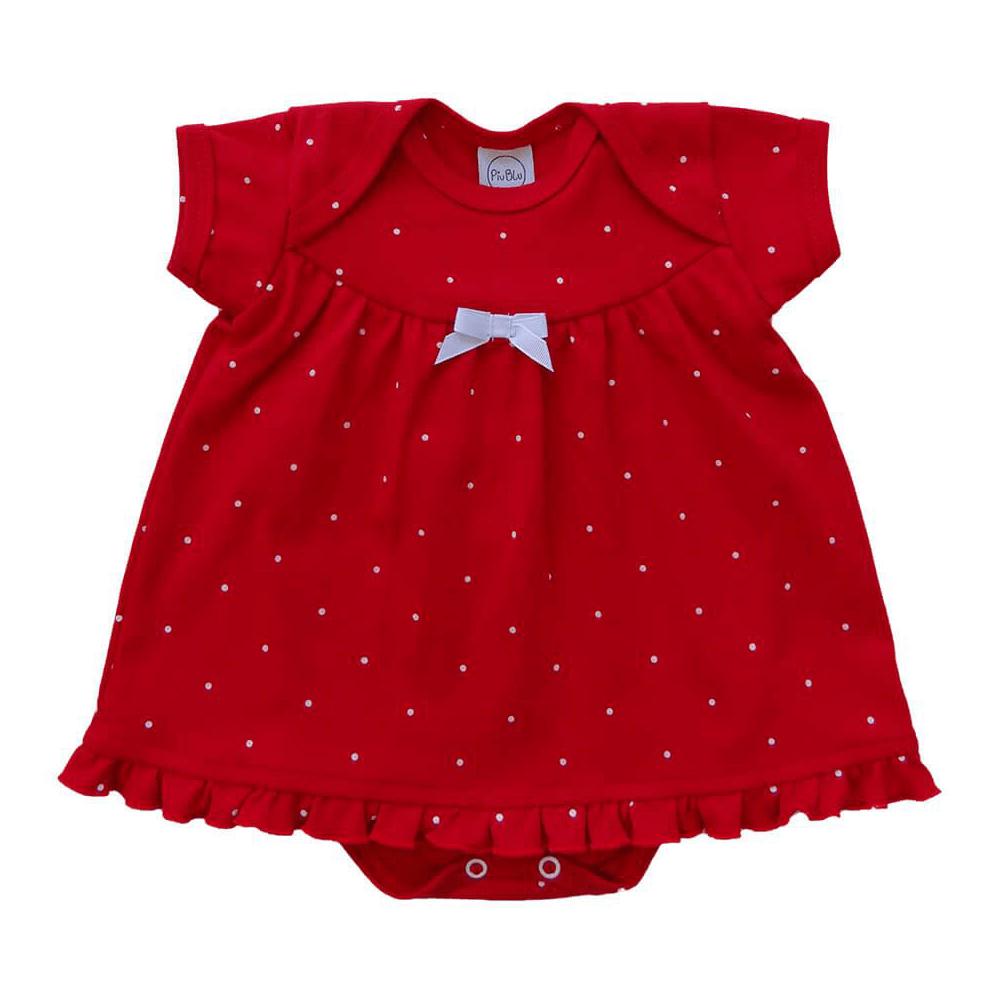 Body Bebê Vestido Infantil Poá Vermelho  - Piu Blu
