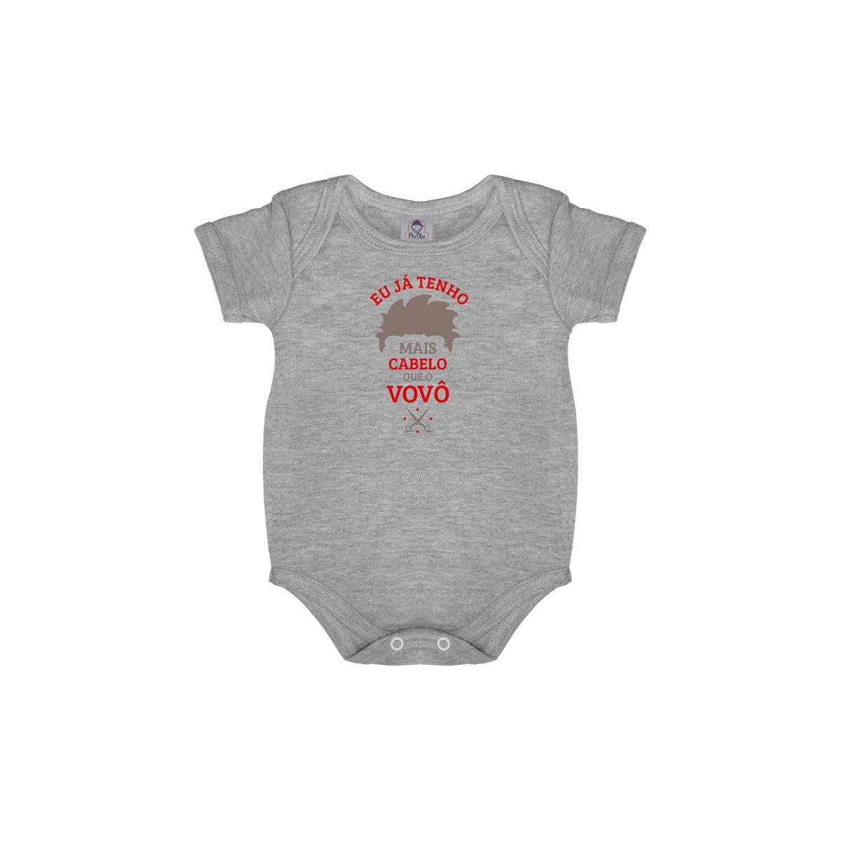Body Bebê Frase Manga Curta Mais Cabelo que o Vovô  - Piu Blu