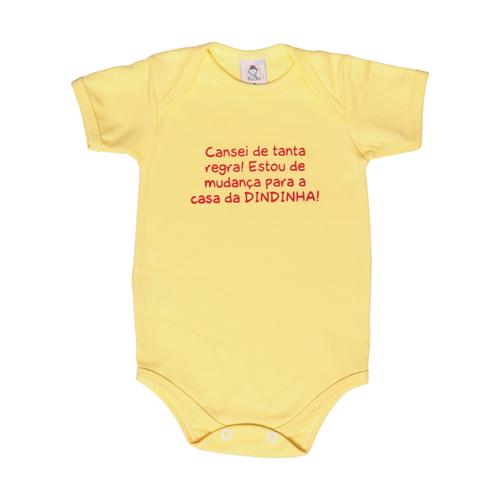 Body Bebê Frase Manga Curta Mudança Para Casa Da Dindinha  - Piu Blu