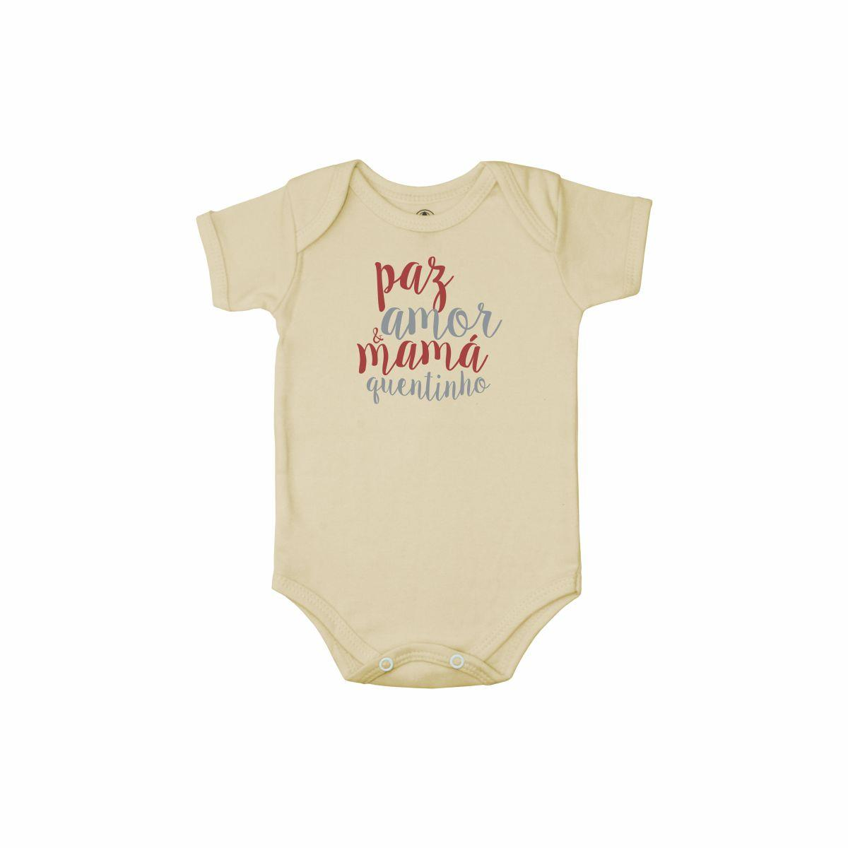 Body Bebê Frase Manga Curta Paz, Amor e Mamá