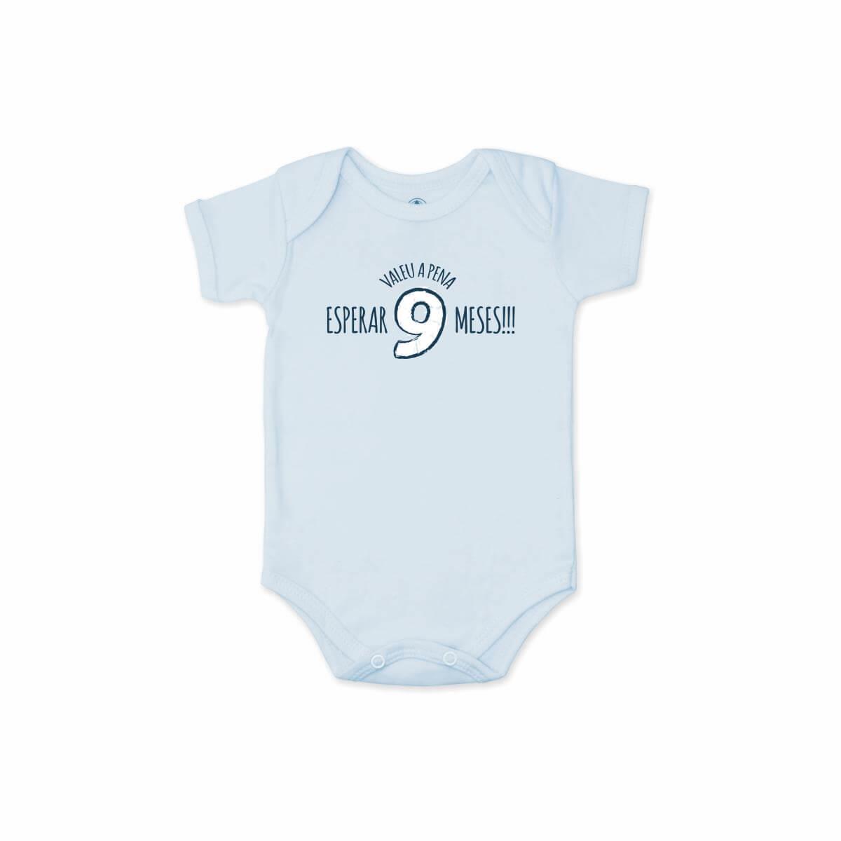 Body Manga Curta Valeu a Pena Azul Bebê