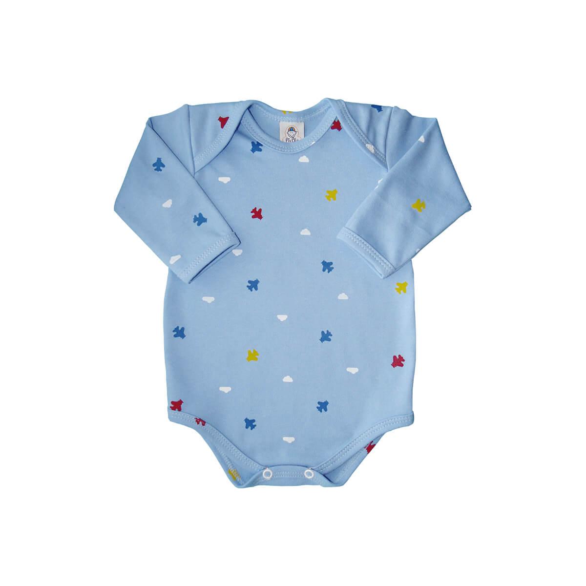 Body Manga Longa Aviãozinho Azul Bebê