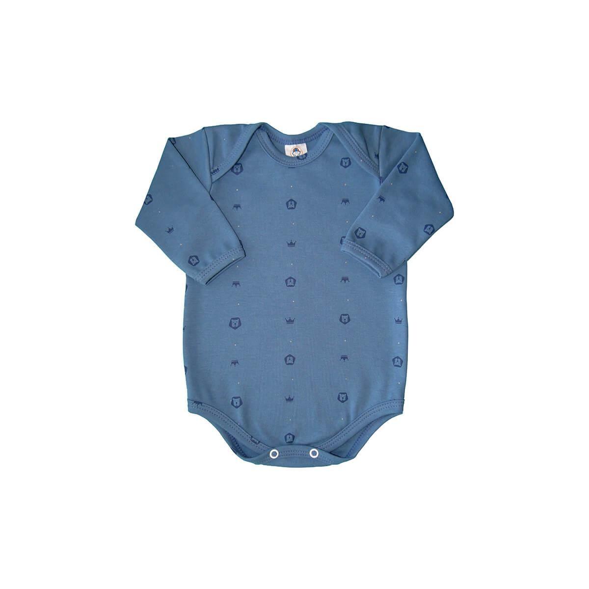 Body Bebê Manga Longa Leãozinho Azul  - Piu Blu