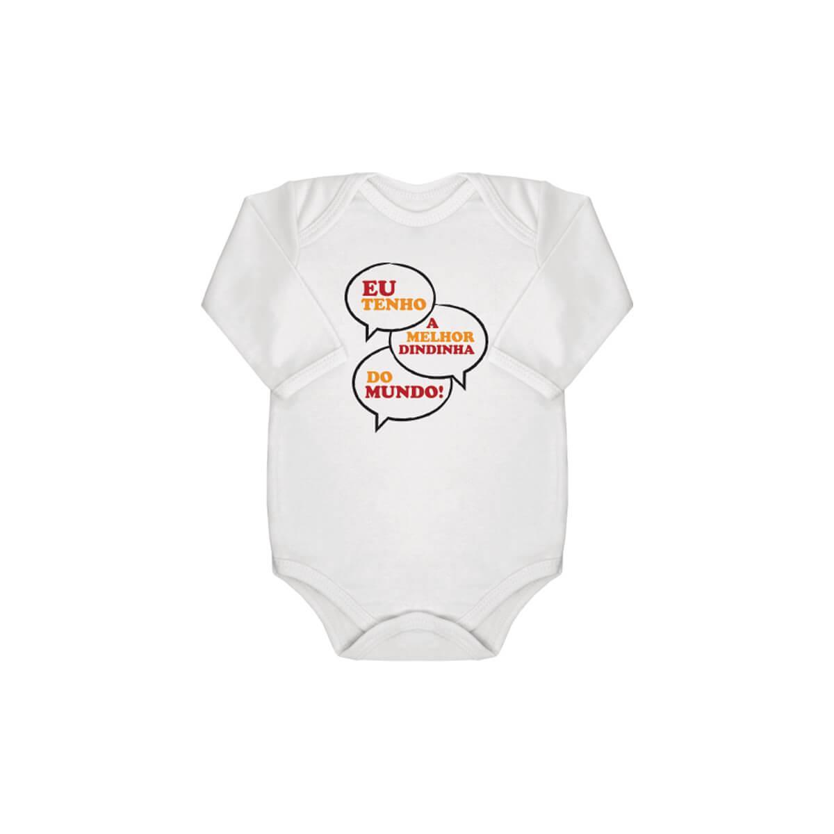 Body Bebê Manga Longa Melhor Dindinha Suedine 100% Algodão