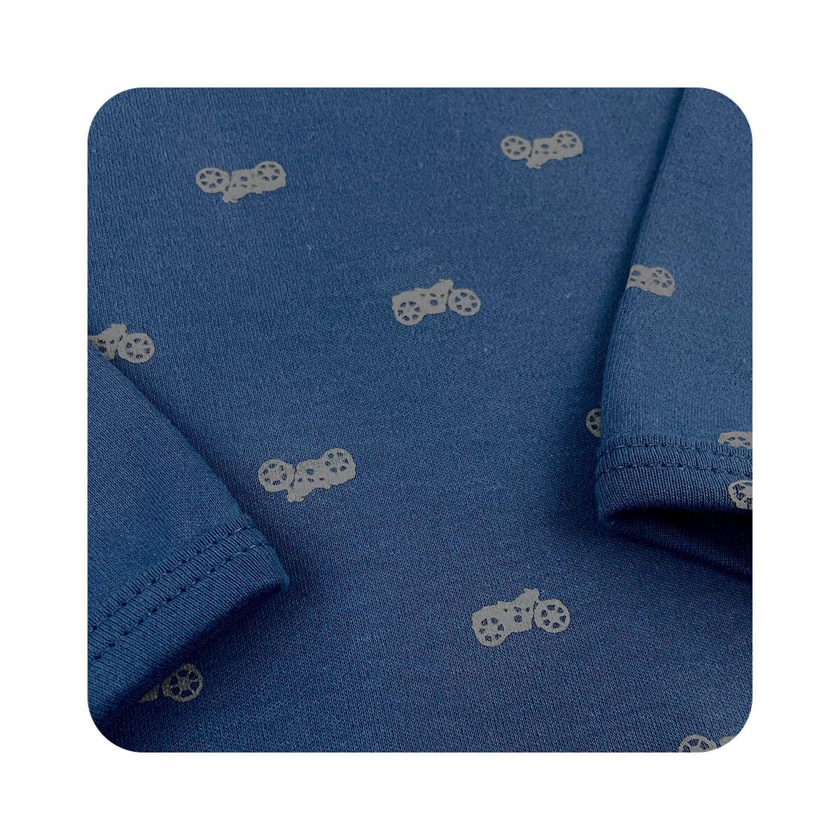 Body Bebê Manga Longa Motoca  - Piu Blu