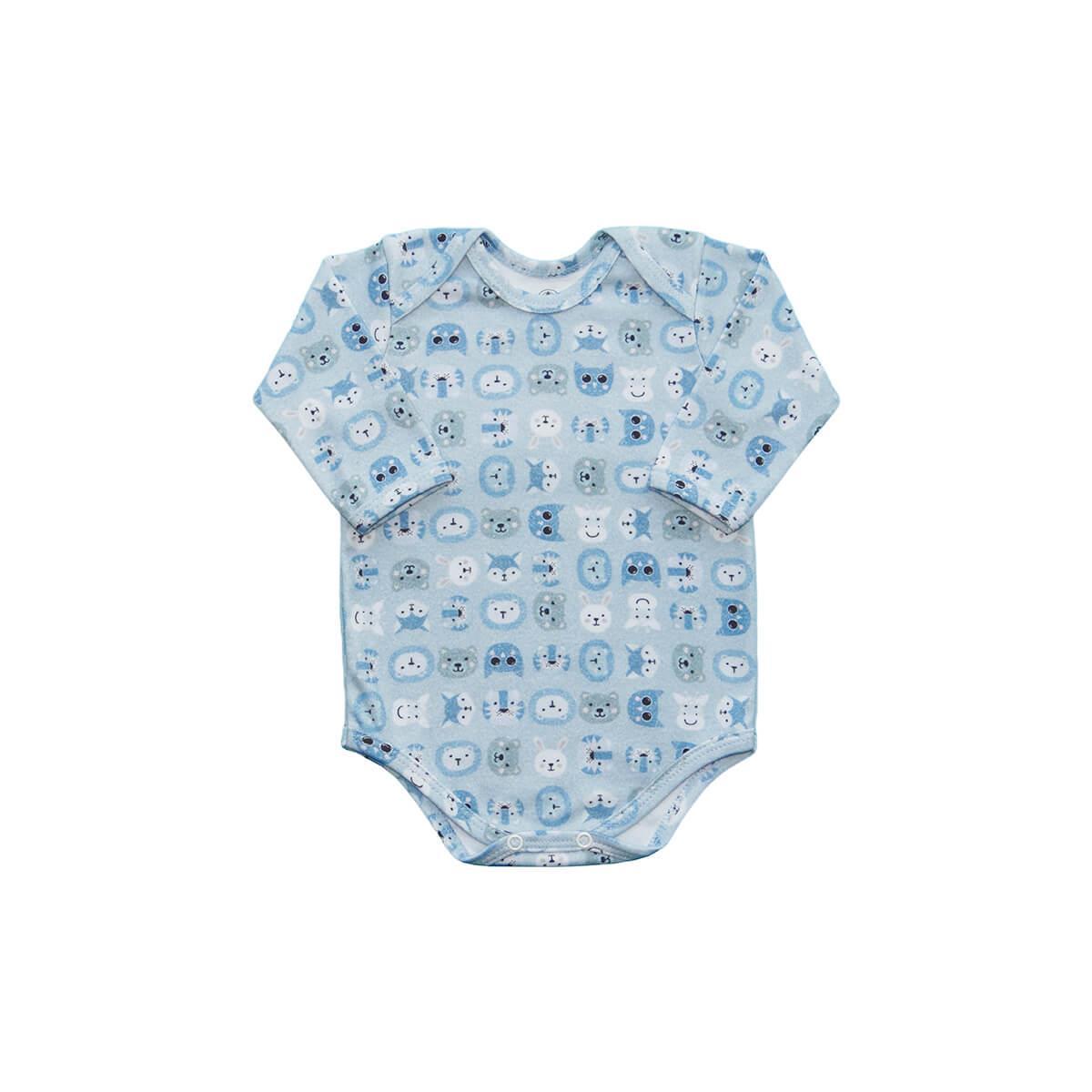 Body Bebê Manga Longa Zoo Azul Bebê
