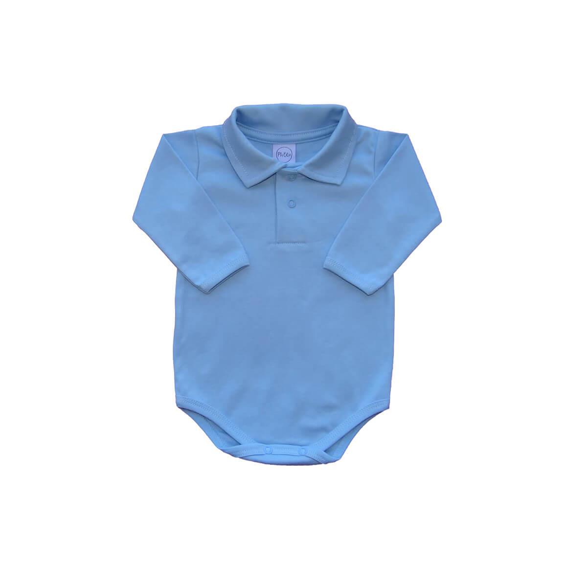Body Polo Manga Longa Azul Bebê