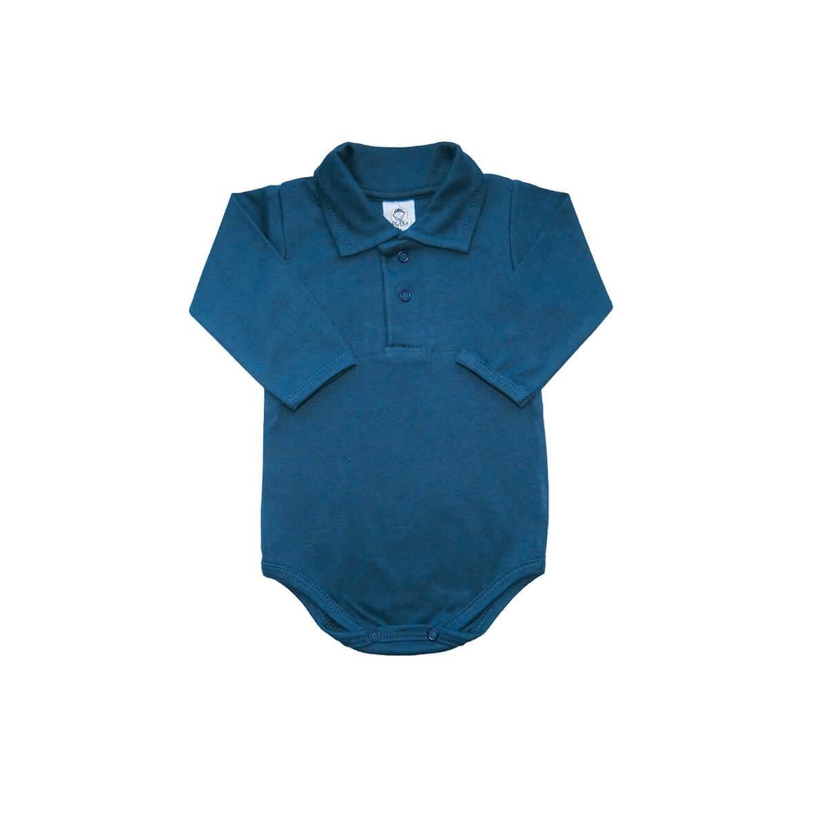 Body Bebê Polo Manga Longa Azul Denim  - Piu Blu