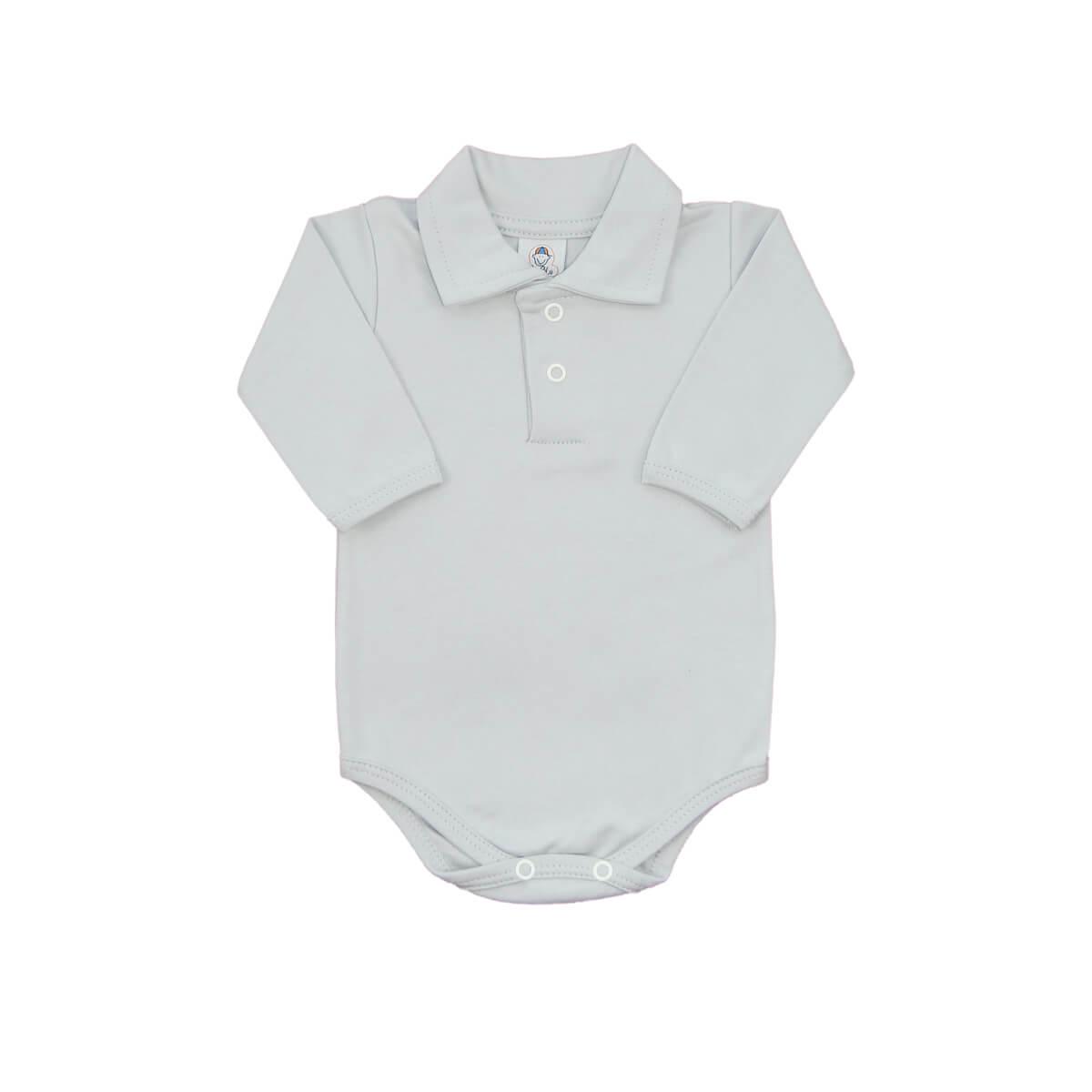 Body Bebê Polo Manga Longa Gelo