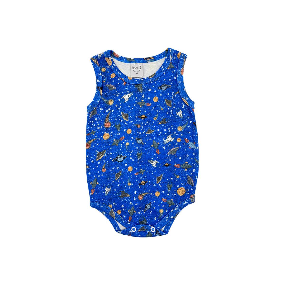 Body Bebê Regata Espaço Azul Cobalto  - Piu Blu