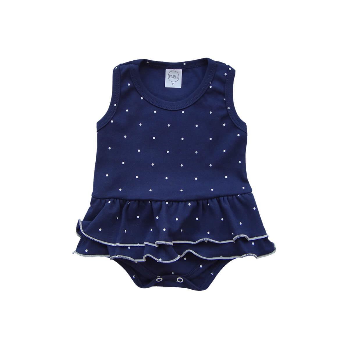 Body Bebê Saia Poá Marinho  - Piu Blu
