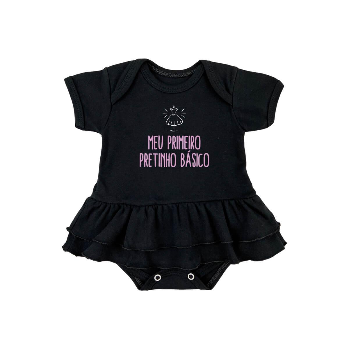 Body Bebê Saia Pretinho Básico Suedine 100% Algodão