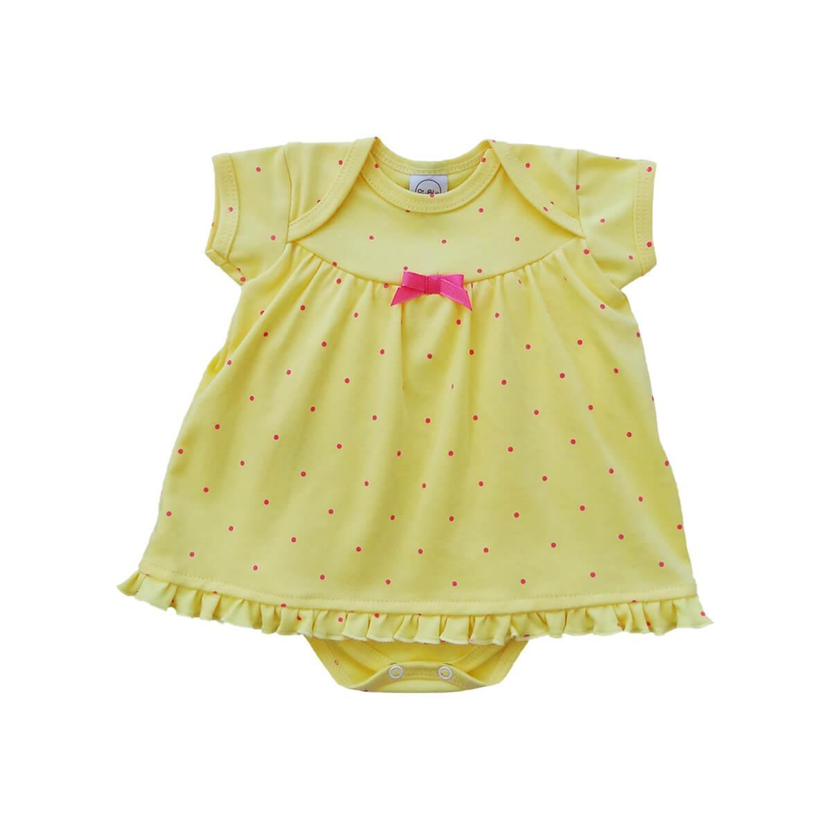 Body Vestido Poá Amarelo
