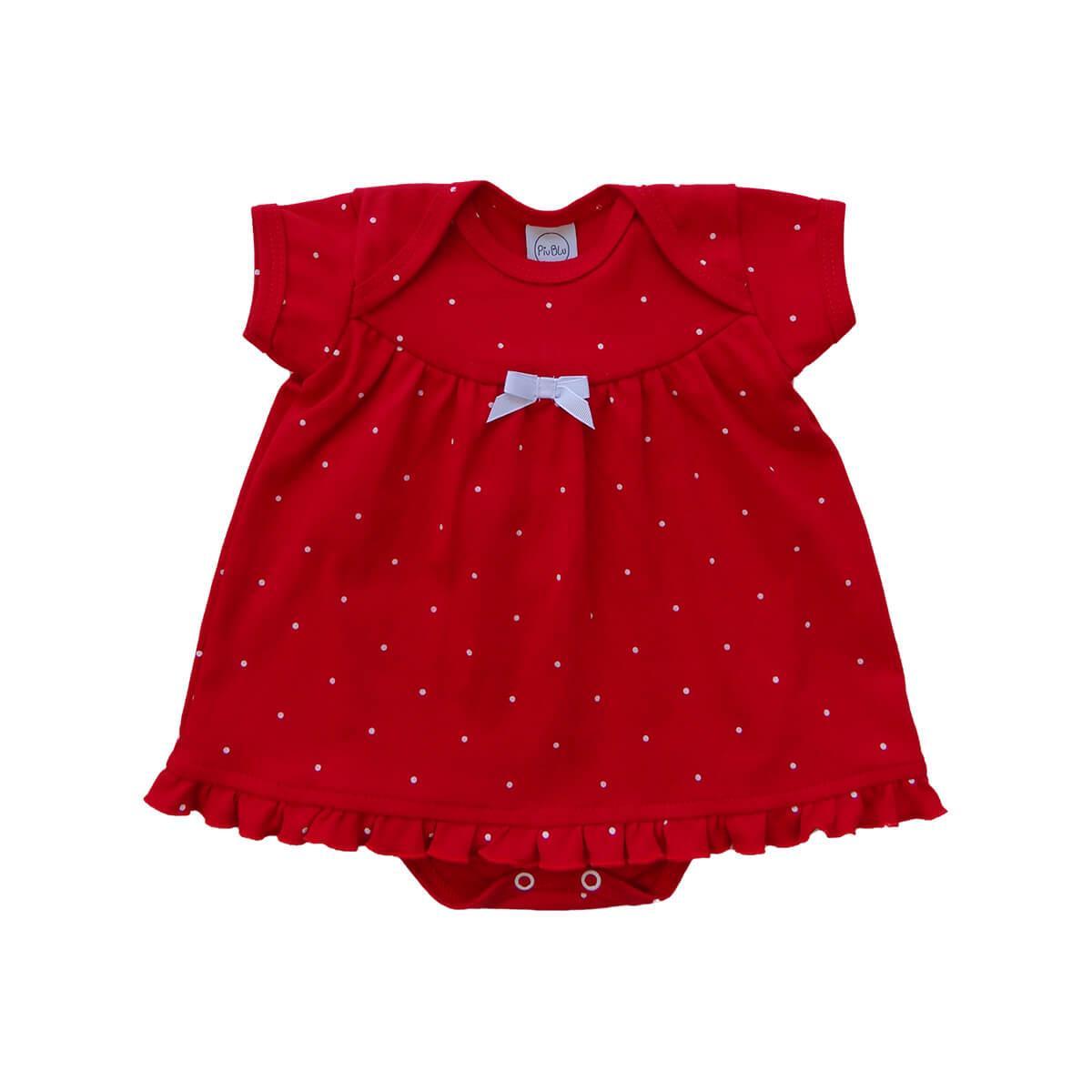 Body Vestido Poá Vermelho