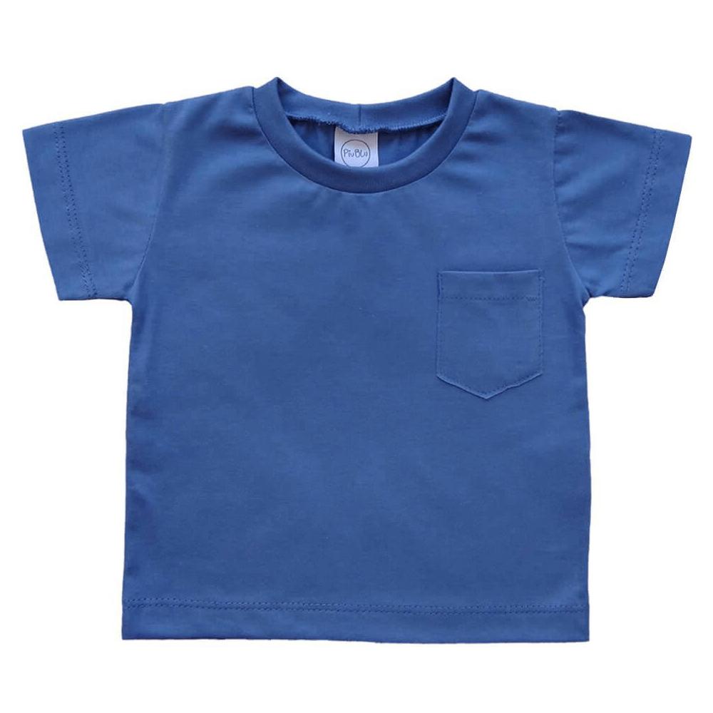 Camiseta Infantil Manga Curta Azul  - Piu Blu