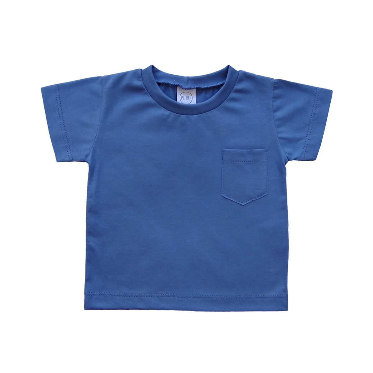 Camiseta Manga Curta Azul 1 ao 3