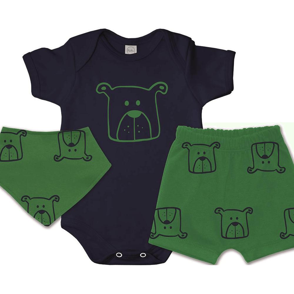 Conjunto Bebê Curto Bandana Bebê Cachorrinho