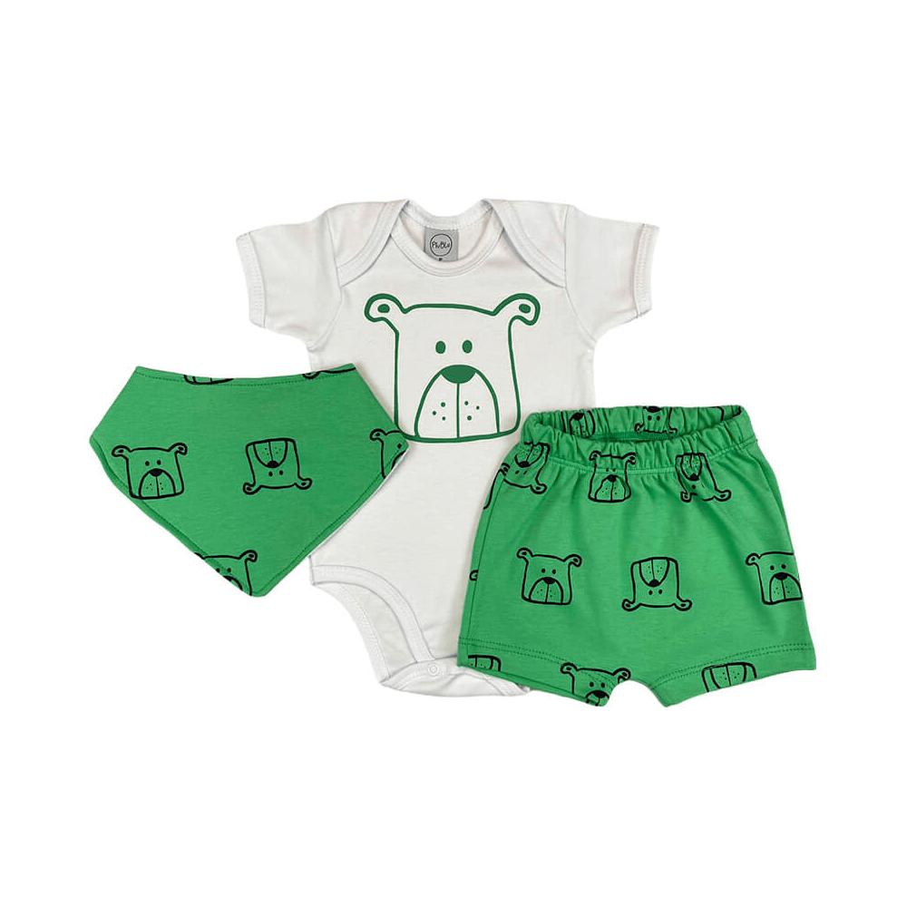 Conjunto Bebê Curto Bandana Bebê Cachorrinho Branco