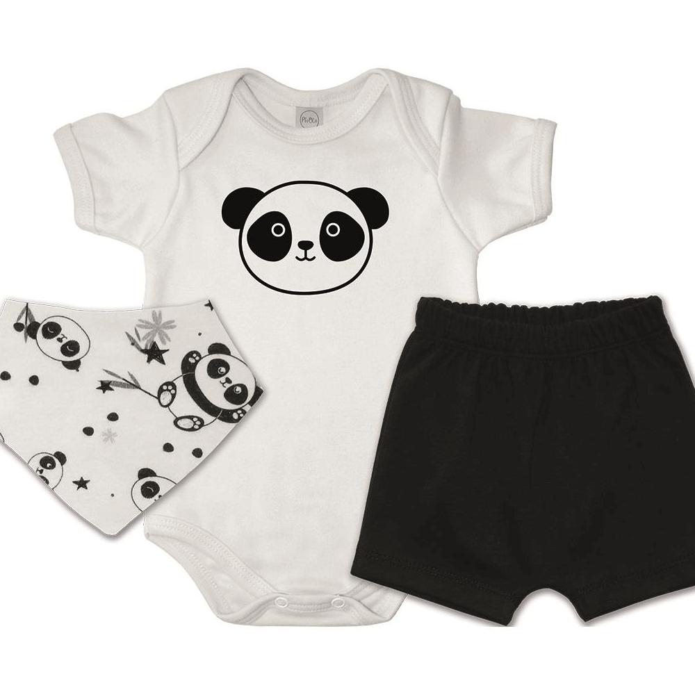 Conjunto Bebê Curto Bandana Pandas  - Piu Blu