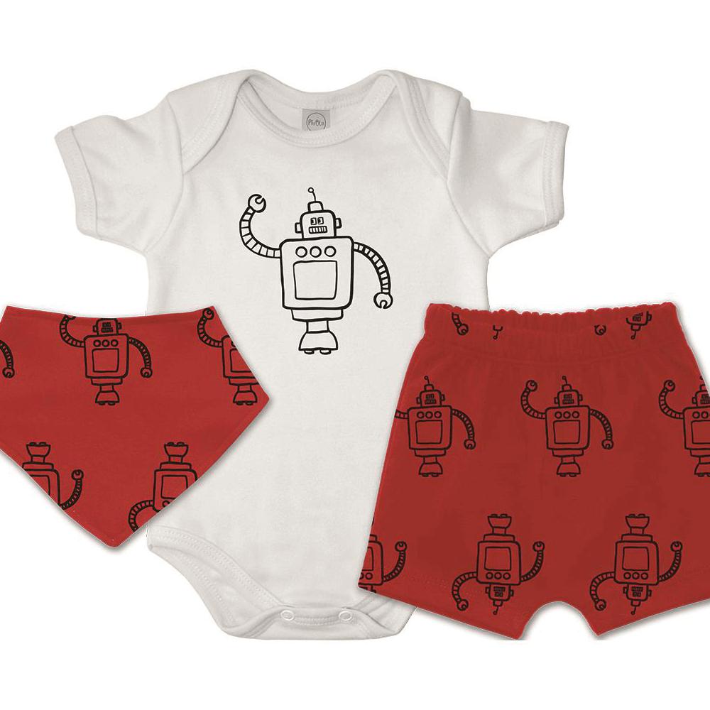 Conjunto Bebê Curto Bandana Bebê Robôs