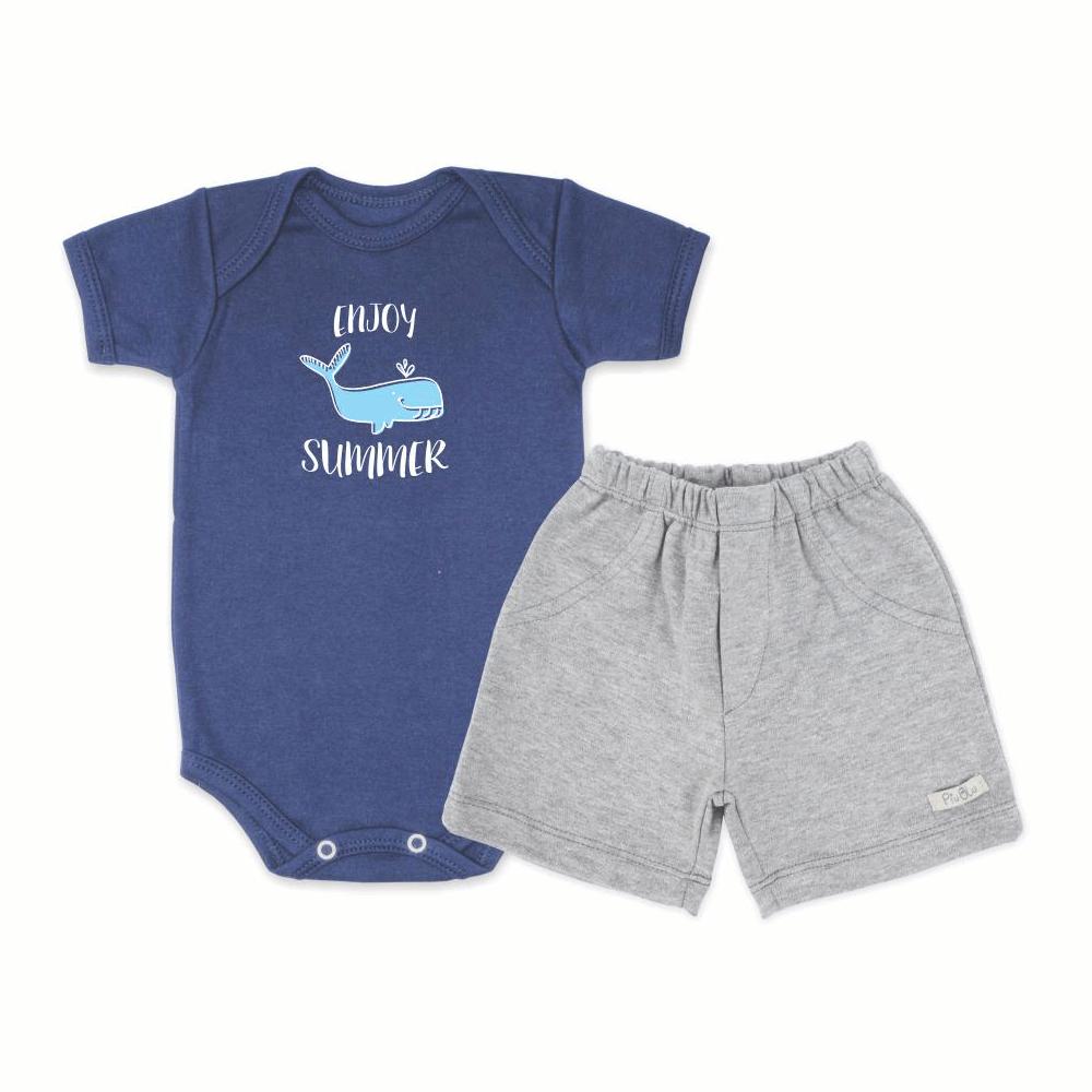 Conjunto Bebê Curto Body Bebê Enjoy Summer  - Piu Blu