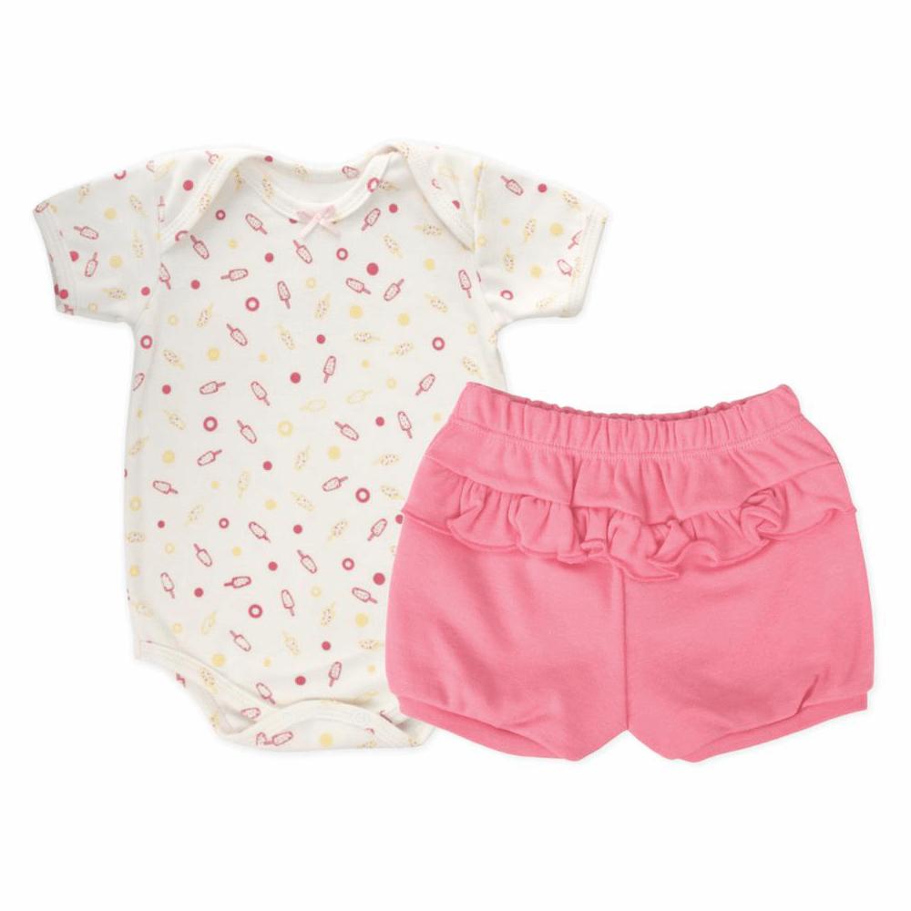 Conjunto Bebê Curto Body Bebê Picolé  - Piu Blu